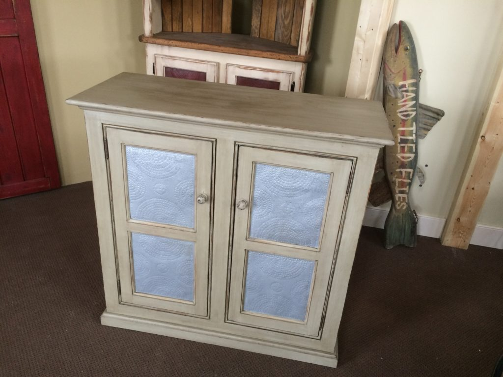 Double Door Punched Tin Cabinet